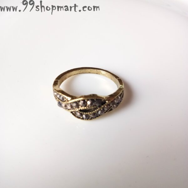 Buy overlap layer band golden colour ring with zirconia design online 99shopmart 99SWR12_05