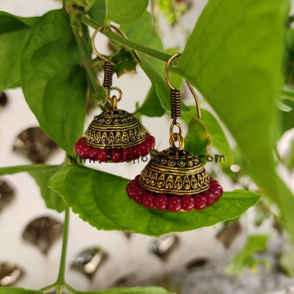 buy golden colour medium jhumki earring with red wrapped bead around for women girls 99shopmart 99SWEJ02_03