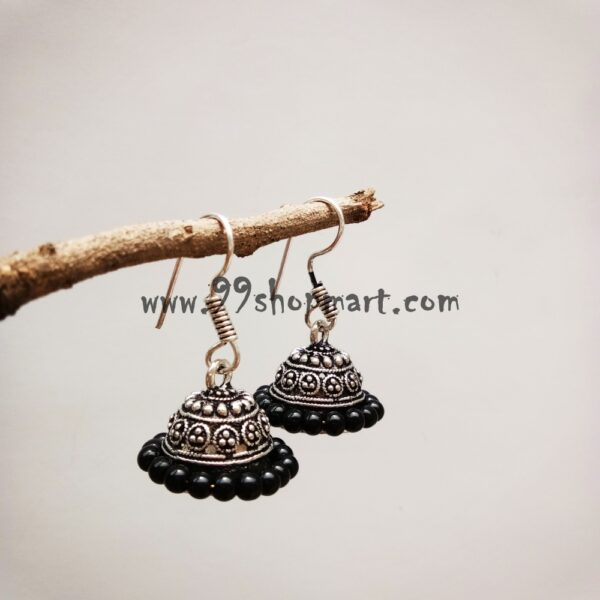 buy small size german silver oxidized jhumki earrings with black small beads wrapped around for women online 99shopmart 99SMWEJ02_01