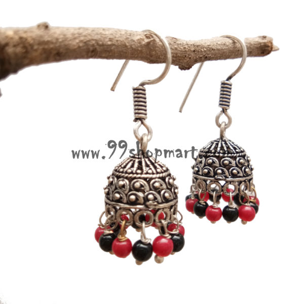 buy beautiful small size oxidized jhumka earring with red and black drop beads online for women girls 99shopmart 99SWEJ01_03