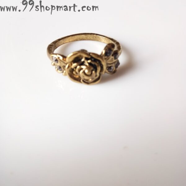 Buy designer rose ring golden colour with leaves and zirconia stone online 99shopmart 99SWR12_04