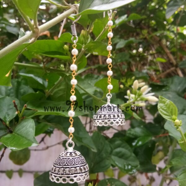 buy white pearl beads long chain oxidized dangle silver jhumki earring online 99shopmart 99SWEJ08_01