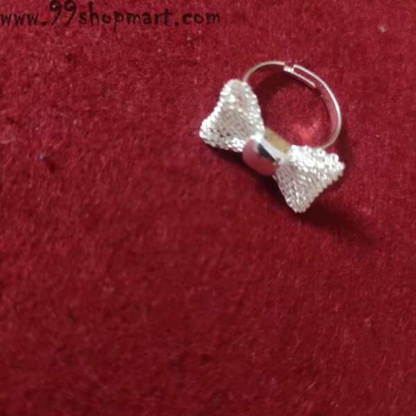 Buy bow ribbon mesh design silver colour ring adjustable for women online 99shopmart 99SWR15_01