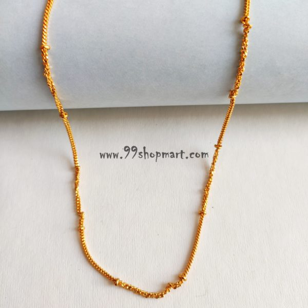 buy golden colour artificial chain necklace for women men online designer short neck chain 99shopmart 99SWNCH01_03