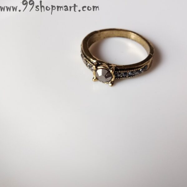 Buy designer single stone ring on top and multiple tiny stones on the band golden ring with black cubic zirconia stones online for women 99shopmart 99SWR12_10