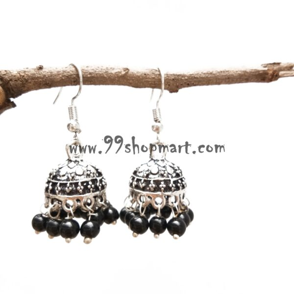 small size black beads silver oxidized jhumki earrings for women wi99shopmart 99SWEJ01_01