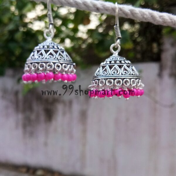 buy waterdrop teardrop jaali design oxidized silver jhumki medium size with pink beads for women 99shopmart 99SWEJ05_04