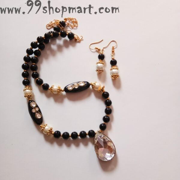 Buy black glass beads necklace set with waterdrop crystal pendant and matching bead drop earrings for women jewellery set online 99shopmart 99WNS07_01