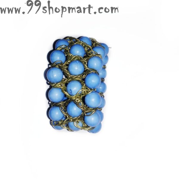 Buy blue colour beads medium size bracelet for kids stretchable with bronze wire chains online shopping 99shopmart 99SWBR05_01
