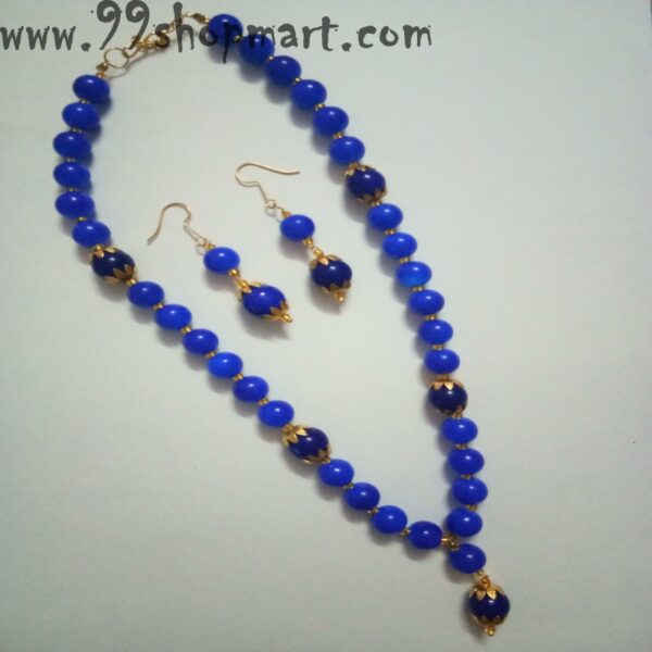 Buy blue beads mala necklace set with golden flower caps matching drop earrings jewellery set for women online 99shopmart 99SWNS05_01