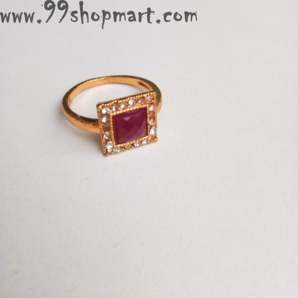Buy square shape design women artificial ring pink white stones 99shopmart 99SWR30_01