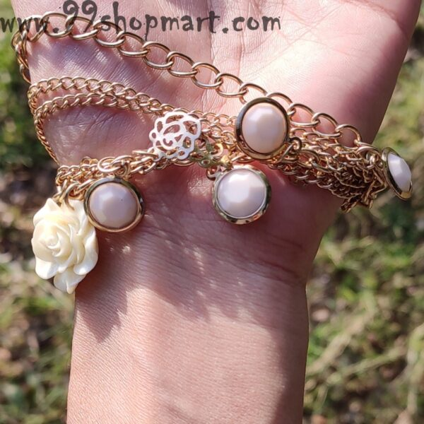 Buy golden multilayer chains white rose charm round charms golden charms fashion adjustable bracelet for women girls online 99shopmart 99SWBR02_01