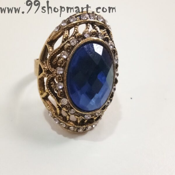 Buy blue colour big ellipse crystal stone women artificial ring golden colour adjustable 99shopmart 99SWR19_03