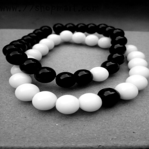Buy couple distance bracelet with glass beads black and white couple partner bracelet friendship love 99shopmart 99SWBR08_02