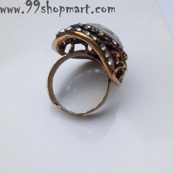 buy golden colour partywear big crytal stone ring for women online on sale adjustable 99shopmart 99SWR19