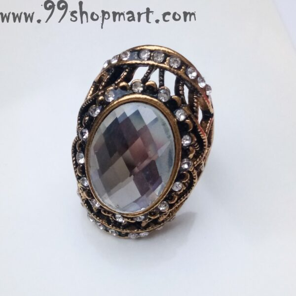 Buy partywear golden colour wring with big ellipse crystal white stone for women online sale 99shopmart 99SWR19_02
