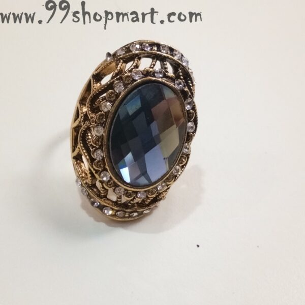 Buy grey colour big crystal stone golden adjustable ring for women online sale 99shopmart 99SWR19_01