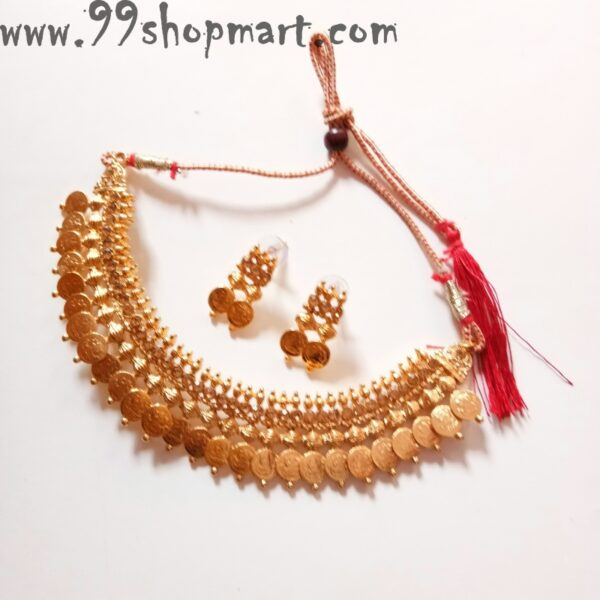Buy golden coin choker necklace set goddess laxmi design south indian temple jewellery set for women girls 99shopmart 99SWNS04_01