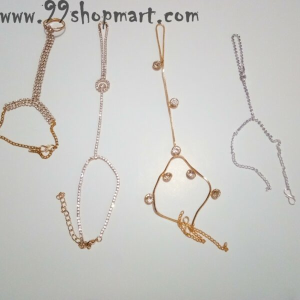 Buy golden colour hand harness with white cubic zirconia stones bracelet with finger ring online shoppinh 99shopmart 99SWBR07_01
