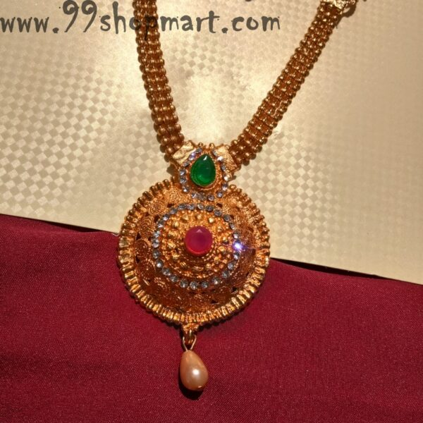 Buy golden colour round pendant heavy necklace set of 2 with matching earrings mathatika for women 99shopmart 99SWNS15_02