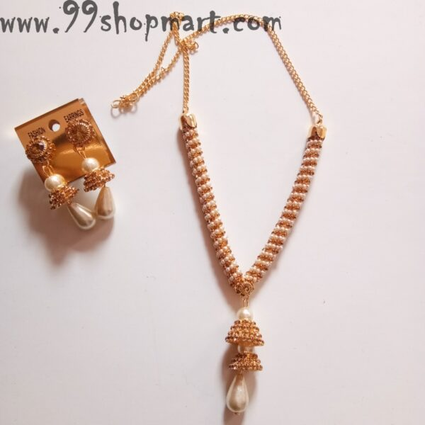 Buy golden necklace set white pearls beads yellow golden zirconia wrappd v shape necklace set with jhumki earrings 99shopmart 99SWNS01_01
