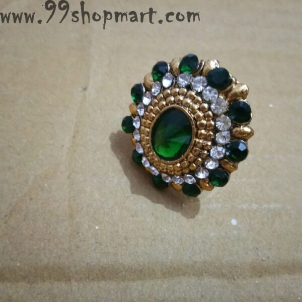 Buy traditional indian ring golden colour with green colour zirconia stone for women adjustable artificial ring on sale 99shopmart 99SWR21_02