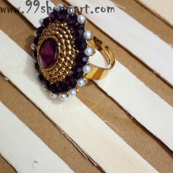Buy traditional indian ring golden colour with purple colour zirconia stone for women adjustable artificial ring on sale 99shopmart 99SWR21_03