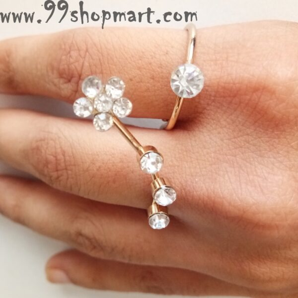 Buy golden double finger rig for women with flower and dot design zirconia stone white online 99shopmart 99SWR18_01