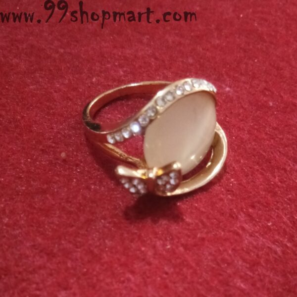 Buy ellipse design stone cream colour golden ring with small white small zirconia stone studded butterfly for women girls 99shopmart 99SWR31_05