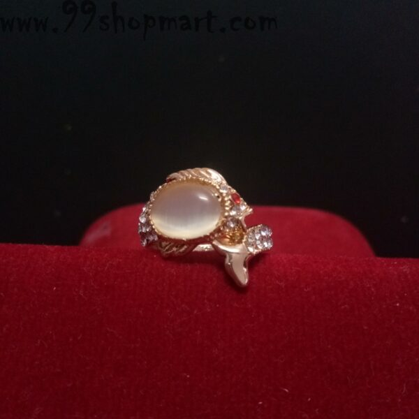 Buy cream stone stylish ring for women golden colour with fish tail shape 99shopmart 99SWR31_03