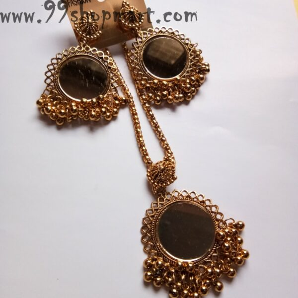 Buy golden colour circle round mirror pendant in golden chain with tiny golden ball loop charms and matching mirror earrings jewellery set 99shopmart 99SWNS02_01