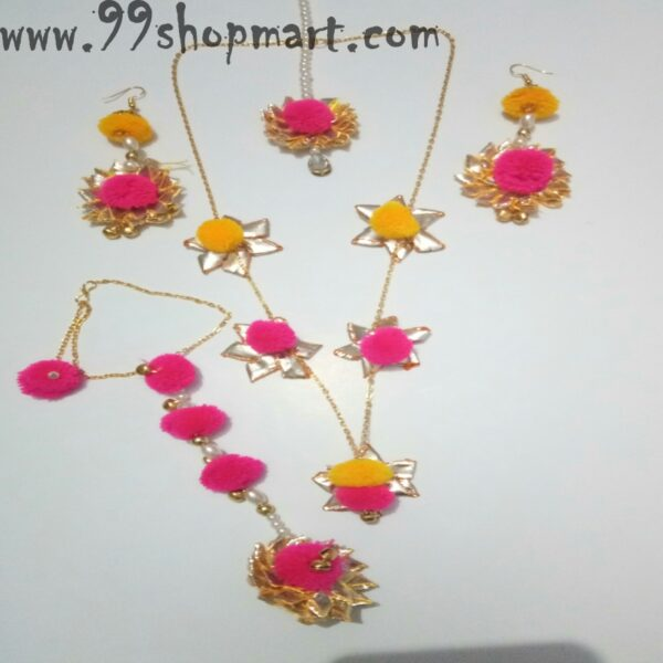 Buy pink yellow pompom golden chain necklace set with mathatika earrings and one hathphool for women wedding functions jewellery set 99shopmart 99SWNS12_01