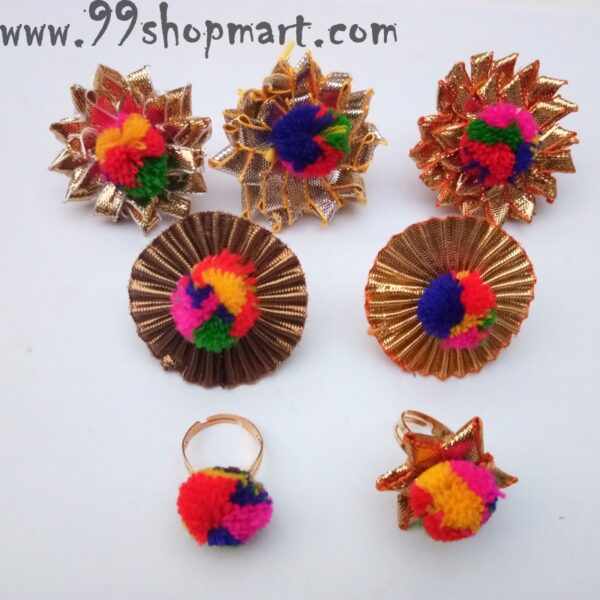 Buy 5 pieces/set random design designer gota pati handmade rings online on sale multicolour pompom adjustable ring for women online sale 99shopmart 99SWR27_01