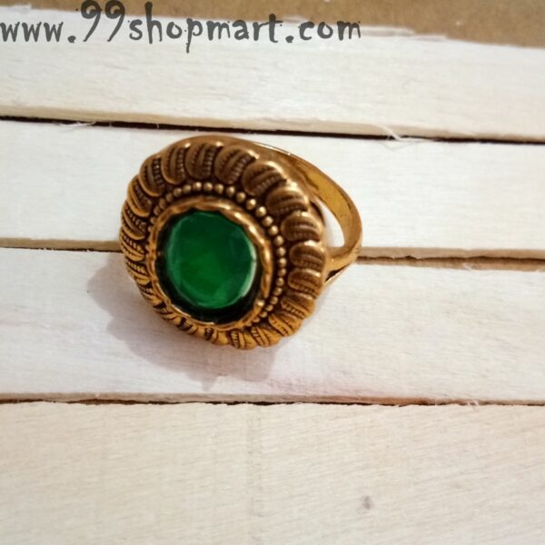 Buy golden colour traditional finger ring for women with green colour stone in middle for women online shopping 99shopmart 99SWR26_01