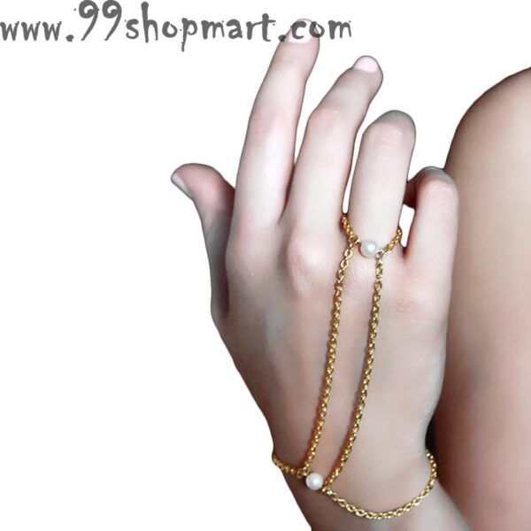 Buy golden chain hand harness with imitation pearls finger link chain bracelet for women girls online sale 99shopmart 99SWBR04_01
