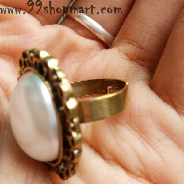 Buy half cut ellipse pearl ring with golden base online sale 99shopmart 99SWR20_01