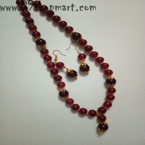 Buy red beads mala necklace set with golden flower caps matching drop earrings jewellery set for women online 99shopmart 99SWNS05_02