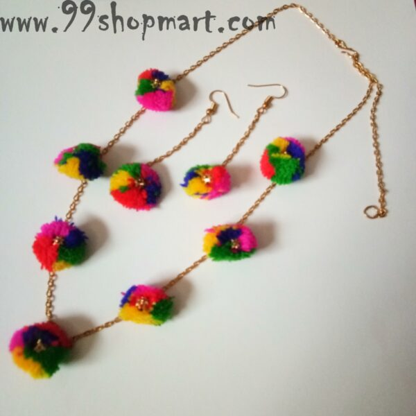 Buy multicolour pompom necklace set for women with golden chain and drop earrings long chain 99shopmart 99SWNS13_01