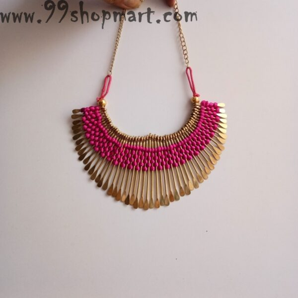 Buy pink silk thread golden pin tribal necklace set for women 99shopmart 99SWNS08_03