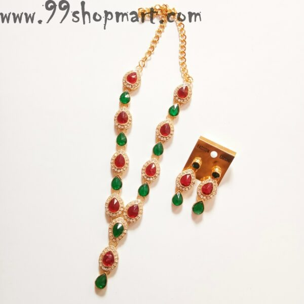 Buy waterdrop design red green stones jewellery set for women partywear 99shopmart 99SWNS09_01