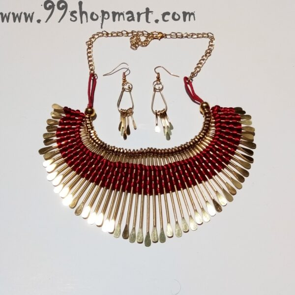 Buy red silk thread golden pin tribal necklace set for women 99shopmart 99SWNS08_04