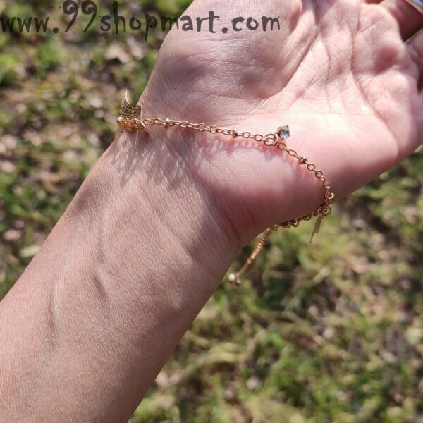 Buy dainty golden chain charm bracelet with leaves and zirconia stones anklet cum bracelet multipurpose jewelry 99shopmart 99SWBR03_01
