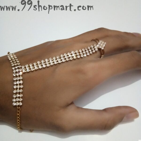 Buy white cubic zirconia stones 3 layer hand harness golden colour bracelet with ring attached 99shopmart 99SWBR07_01