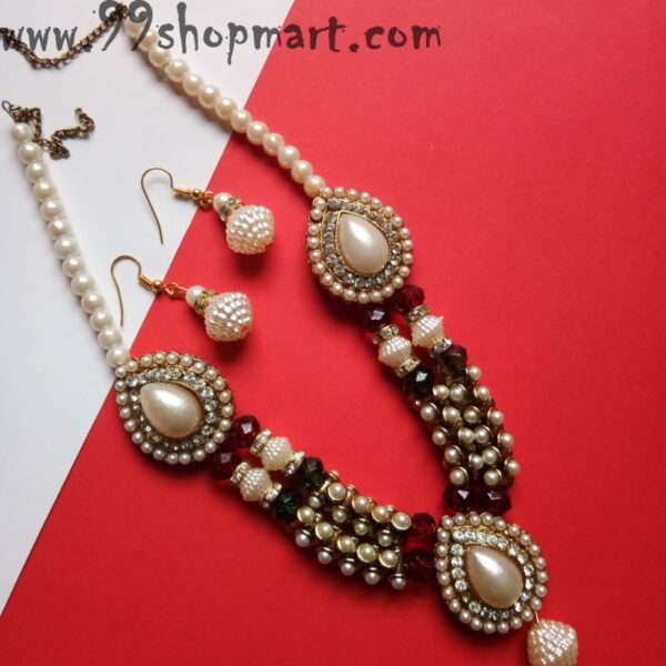 Buy golden colour necklace set with white imitation pearl double strands red green beads waterdrop pendant two side beads matching beads earrings for women jewellery set 99shopmart 99SWNS03_02