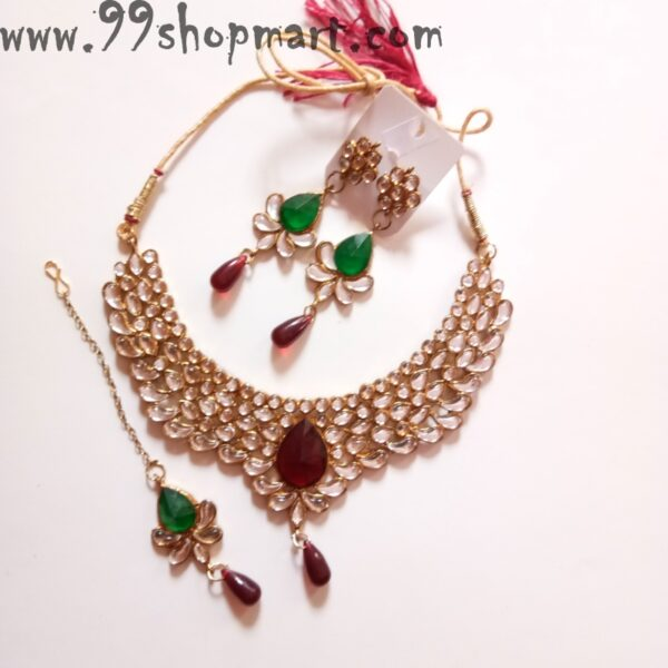 Buy elegant white kundan stone golden necklace set for women bridal jewellery waterdrop red green stones for wedding 99shopmart 99SWNS10_01