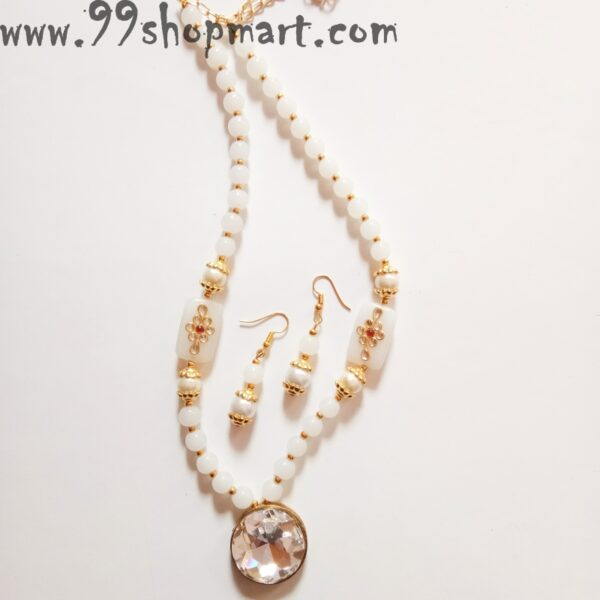 Buy white glass beads necklace set with round crystal pendant and matching bead drop earrings for women jewellery set online 99shopmart 99WNS07_02