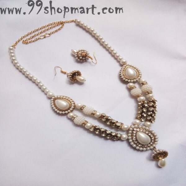 Buy imitation pearl golden designer beads white zirconia stones water drop pendant double strand chain matching jhumki small size earring 99shopmart 99SWNS03_01