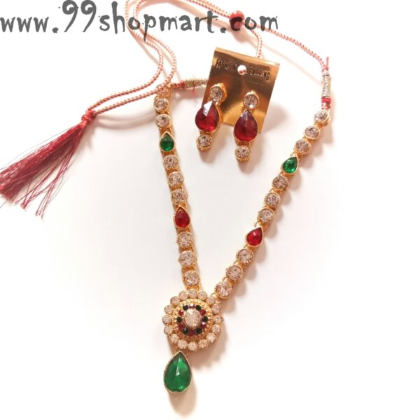 Buy red green waterdrop stone round white zirconia pendant necklace set for women online 99shopmart 99SWNS09_02