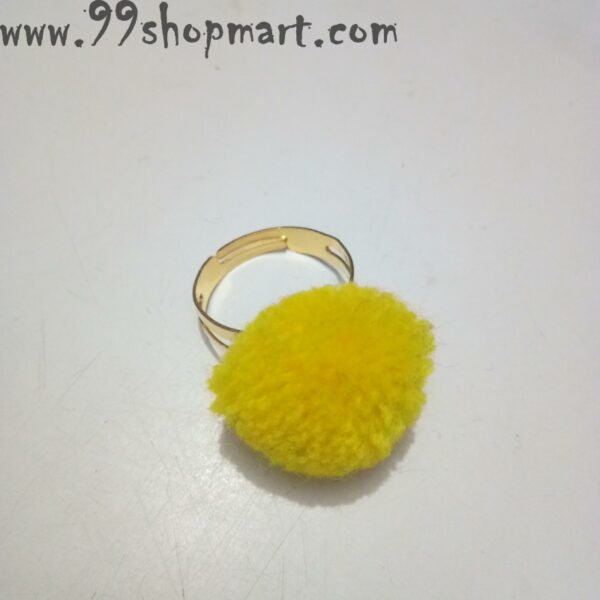 Buy yellow colour pompom ring golden band adjustable for women girls online shopping 99shopmart 99SWR32_01